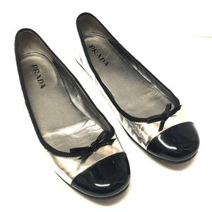 Prada Black Metallic Silver Ballet Flats Shoes